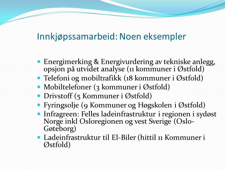 Innkjøpssamarbeid: Noen eksempler  Energimerking & Energivurdering av tekniske anlegg, opsjon på utvidet analyse (11 kommuner i Østfold)  Telefoni og mobiltrafikk (18 kommuner i Østfold)  Mobiltelefoner (3 kommuner i Østfold)  Drivstoff (5 Kommuner i Østfold)  Fyringsolje (9 Kommuner og Høgskolen i Østfold)  Infragreen: Felles ladeinfrastruktur i regionen i sydøst Norge inkl Osloregionen og vest Sverige (Oslo- Gøteborg)  Ladeinfrastruktur til El-Biler (hittil 11 Kommuner i Østfold)