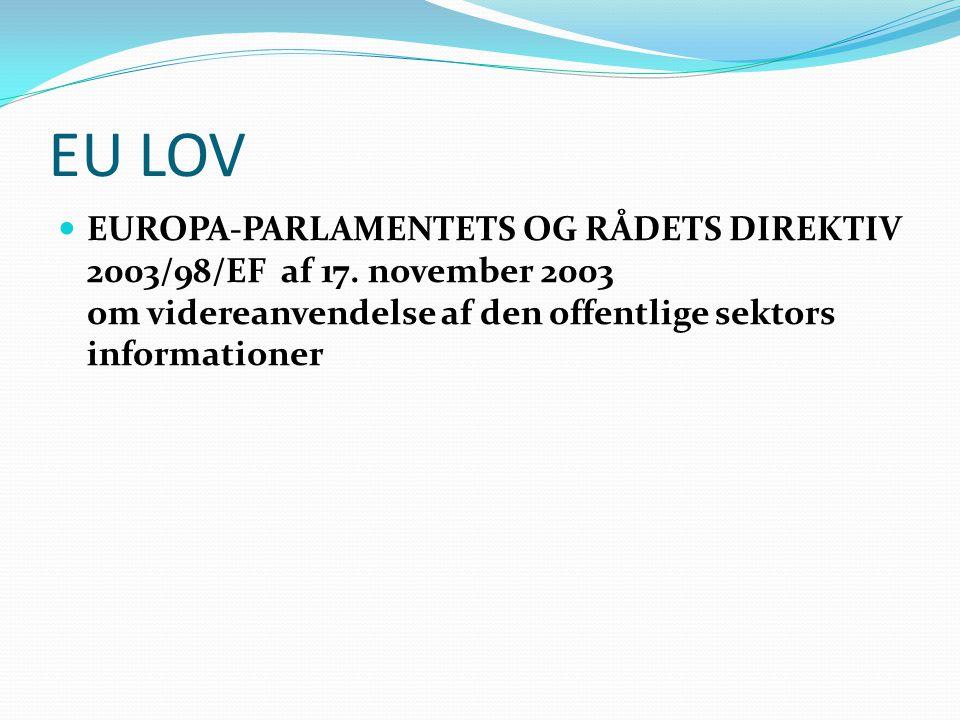EU LOV  EUROPA-PARLAMENTETS OG RÅDETS DIREKTIV 2003/98/EF af 17. november 2003 om videreanvendelse af den offentlige sektors informationer