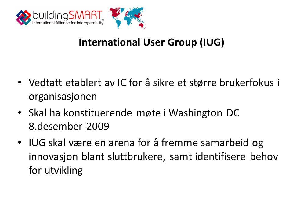 International User Group (IUG) • Vedtatt etablert av IC for å sikre et større brukerfokus i organisasjonen • Skal ha konstituerende møte i Washington DC 8.desember 2009 • IUG skal være en arena for å fremme samarbeid og innovasjon blant sluttbrukere, samt identifisere behov for utvikling