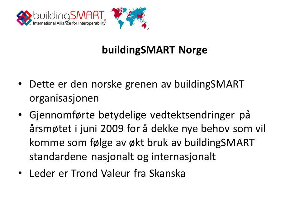 buildingSMART Norge • Dette er den norske grenen av buildingSMART organisasjonen • Gjennomførte betydelige vedtektsendringer på årsmøtet i juni 2009 for å dekke nye behov som vil komme som følge av økt bruk av buildingSMART standardene nasjonalt og internasjonalt • Leder er Trond Valeur fra Skanska