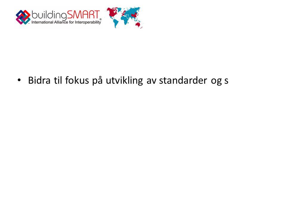 • Bidra til fokus på utvikling av standarder og s
