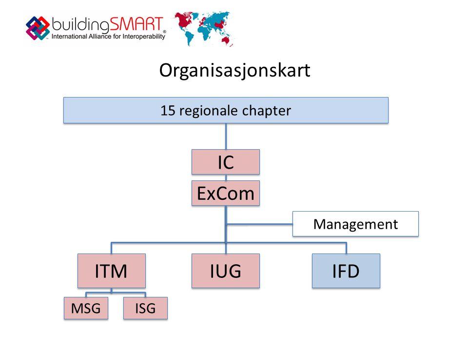 Organisasjonskart IC ITM IUG IFD MSG ISG ExCom Management 15 regionale chapter