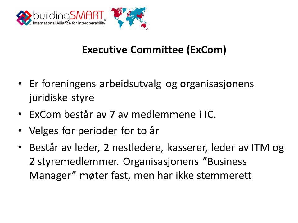 Executive Committee (ExCom) • Er foreningens arbeidsutvalg og organisasjonens juridiske styre • ExCom består av 7 av medlemmene i IC.