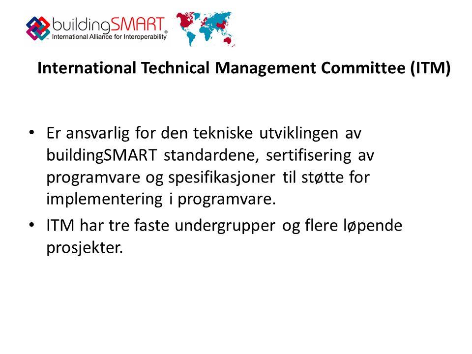 International Technical Management Committee (ITM) • Er ansvarlig for den tekniske utviklingen av buildingSMART standardene, sertifisering av programvare og spesifikasjoner til støtte for implementering i programvare.