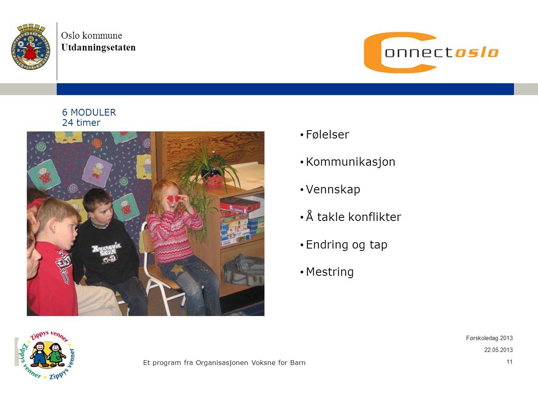 Oslo kommune Utdanningsetaten 6 MODULER 24 timer • Følelser • Kommunikasjon • Vennskap • Å takle konflikter • Endring og tap •Mestring Et program fra