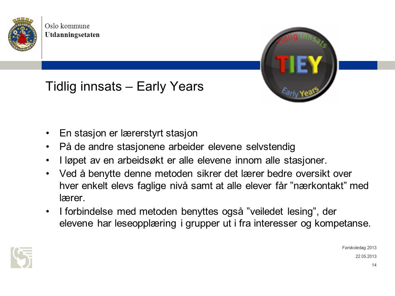 Oslo kommune Utdanningsetaten Tidlig innsats – Early Years •En stasjon er lærerstyrt stasjon •På de andre stasjonene arbeider elevene selvstendig •I l