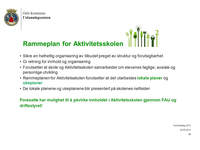 Oslo kommune Utdanningsetaten 19 Rammeplan for Aktivitetsskolen •Sikre en helhetlig organisering av tilbudet preget av struktur og forutsigbarhet •Gi