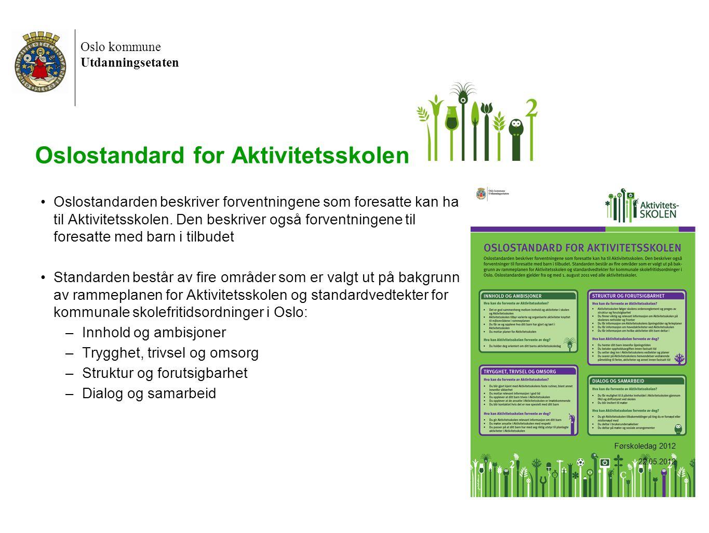 Oslo kommune Utdanningsetaten 20 Oslostandard for Aktivitetsskolen •Oslostandarden beskriver forventningene som foresatte kan ha til Aktivitetsskolen.