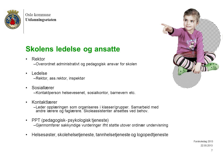 Oslo kommune Utdanningsetaten 18 Mål og innhold i Aktivitetsskolen •5 målområder med retningsgivende føringer: •Natur, teknikk og miljø •Fysisk aktivitet og lek •Kunst, kultur og kreativitet •Mat og helse •Leksehjelp 22.05.2012 Førskoledag 2012