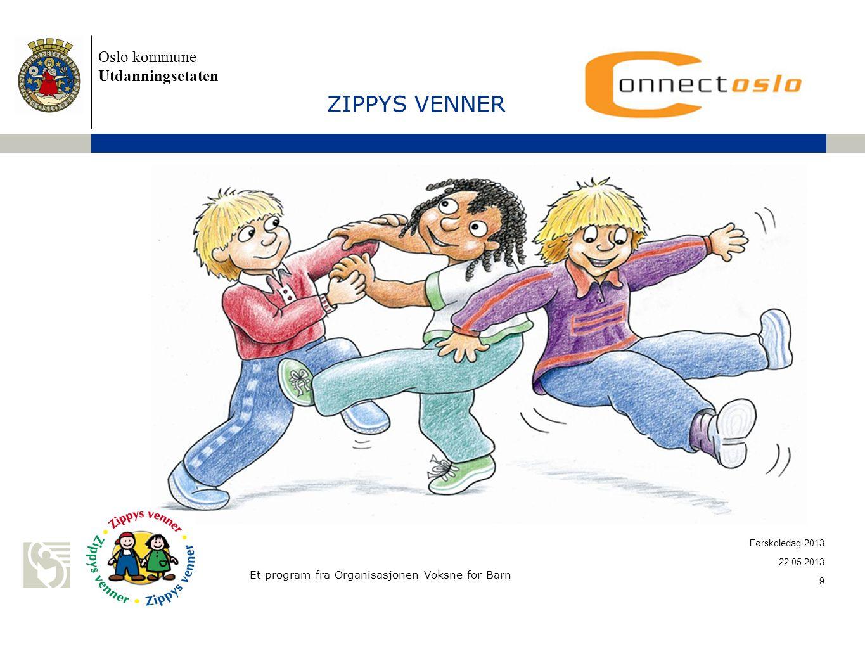 Oslo kommune Utdanningsetaten ZIPPYS VENNER Et program fra Organisasjonen Voksne for Barn 22.05.2013 9 Førskoledag 2013