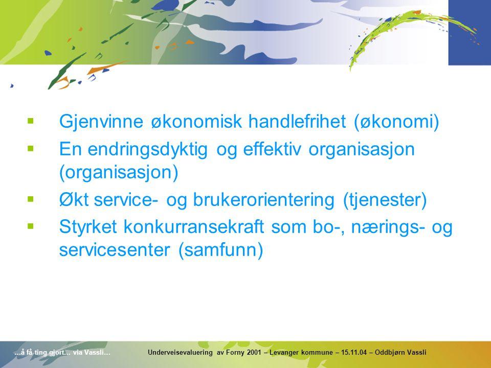 …å få ting gjort… via Vassli… Underveisevaluering av Forny 2001 – Levanger kommune – 15.11.04 – Oddbjørn Vassli  Gjenvinne økonomisk handlefrihet (øk