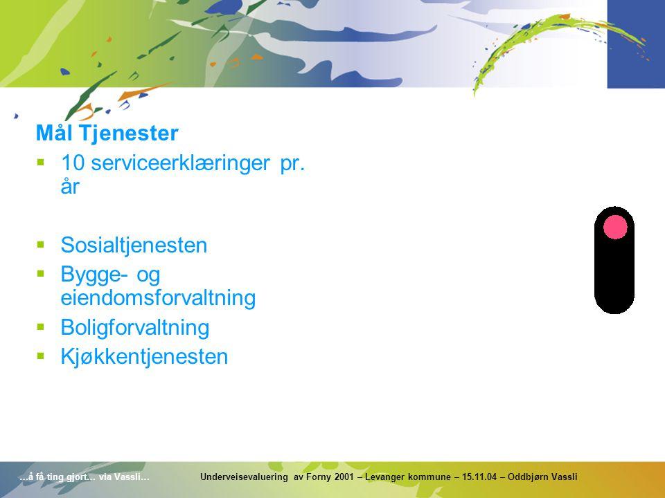 …å få ting gjort… via Vassli… Underveisevaluering av Forny 2001 – Levanger kommune – 15.11.04 – Oddbjørn Vassli Mål Tjenester  10 serviceerklæringer