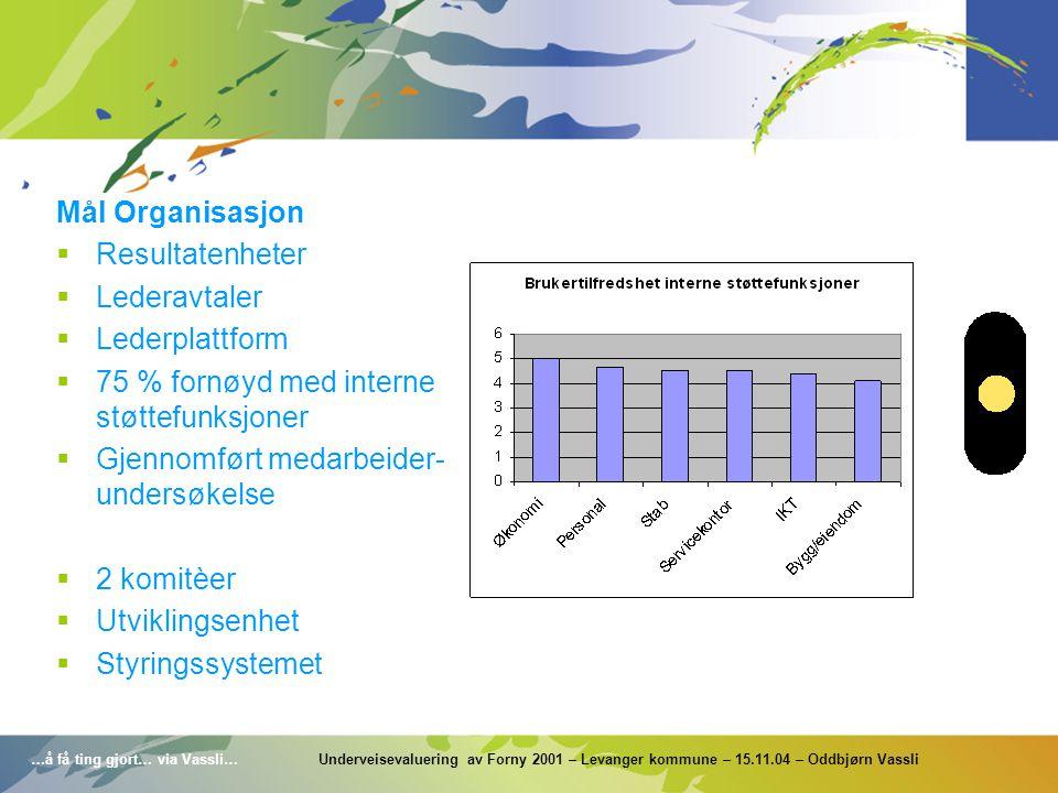…å få ting gjort… via Vassli… Underveisevaluering av Forny 2001 – Levanger kommune – 15.11.04 – Oddbjørn Vassli Mål Organisasjon  Resultatenheter  L