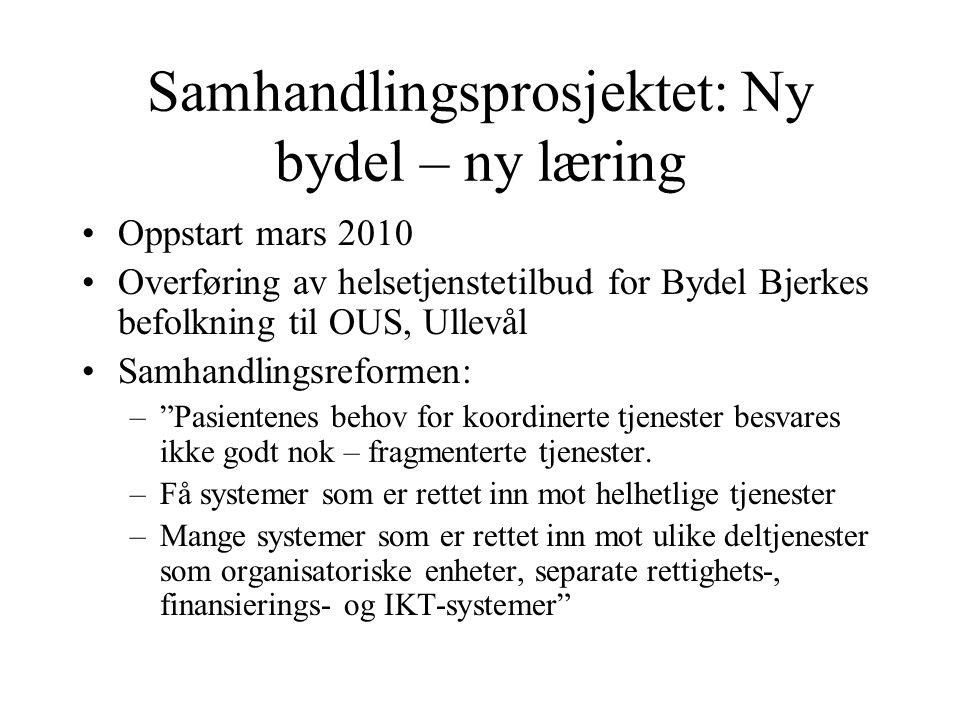 Samhandlingsprosjektet: Ny bydel – ny læring •Oppstart mars 2010 •Overføring av helsetjenstetilbud for Bydel Bjerkes befolkning til OUS, Ullevål •Samh
