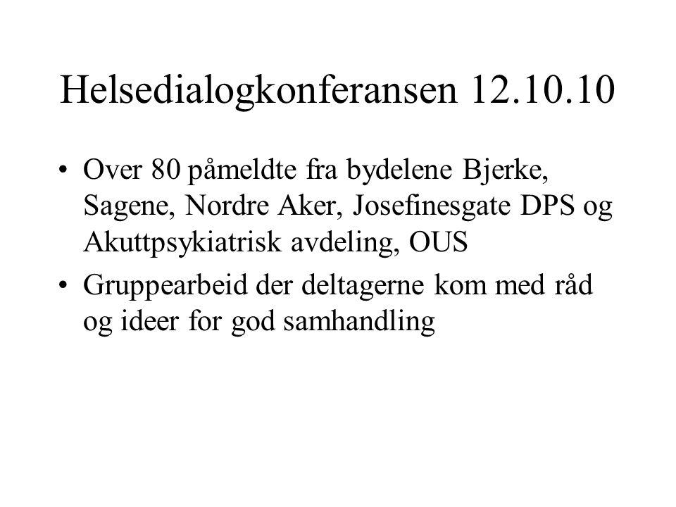 Helsedialogkonferansen 12.10.10 •Over 80 påmeldte fra bydelene Bjerke, Sagene, Nordre Aker, Josefinesgate DPS og Akuttpsykiatrisk avdeling, OUS •Grupp