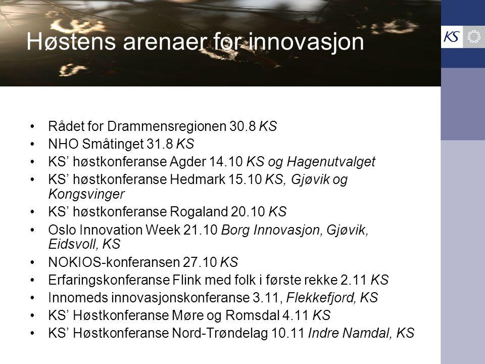 Høstens arenaer for innovasjon •Rådet for Drammensregionen 30.8 KS •NHO Småtinget 31.8 KS •KS' høstkonferanse Agder 14.10 KS og Hagenutvalget •KS' høstkonferanse Hedmark 15.10 KS, Gjøvik og Kongsvinger •KS' høstkonferanse Rogaland 20.10 KS •Oslo Innovation Week 21.10 Borg Innovasjon, Gjøvik, Eidsvoll, KS •NOKIOS-konferansen 27.10 KS •Erfaringskonferanse Flink med folk i første rekke 2.11 KS •Innomeds innovasjonskonferanse 3.11, Flekkefjord, KS •KS' Høstkonferanse Møre og Romsdal 4.11 KS •KS' Høstkonferanse Nord-Trøndelag 10.11 Indre Namdal, KS