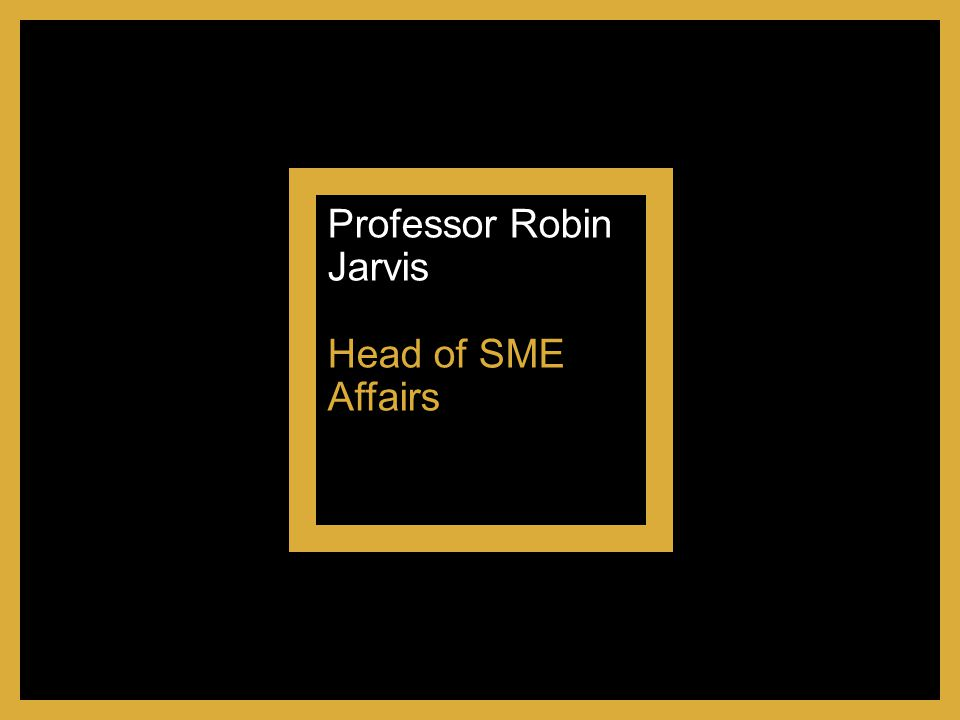 Professor Robin Jarvis Head of SME Affairs