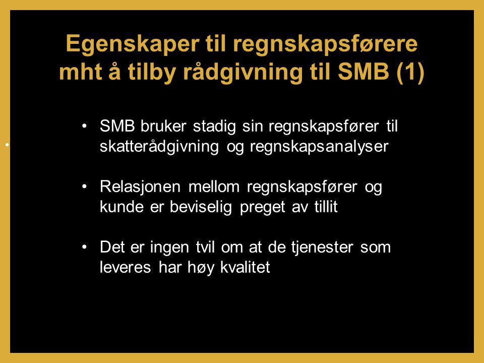 •SMB bruker stadig sin regnskapsfører til skatterådgivning og regnskapsanalyser •Relasjonen mellom regnskapsfører og kunde er beviselig preget av tillit •Det er ingen tvil om at de tjenester som leveres har høy kvalitet Egenskaper til regnskapsførere mht å tilby rådgivning til SMB (1) •