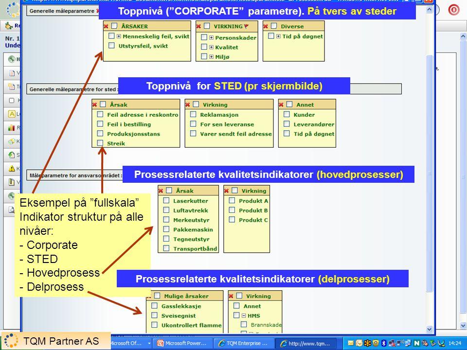 """Toppnivå (""""CORPORATE"""" parametre). På tvers av steder Toppnivå for STED (pr skjermbilde) Prosessrelaterte kvalitetsindikatorer (hovedprosesser) Eksempe"""