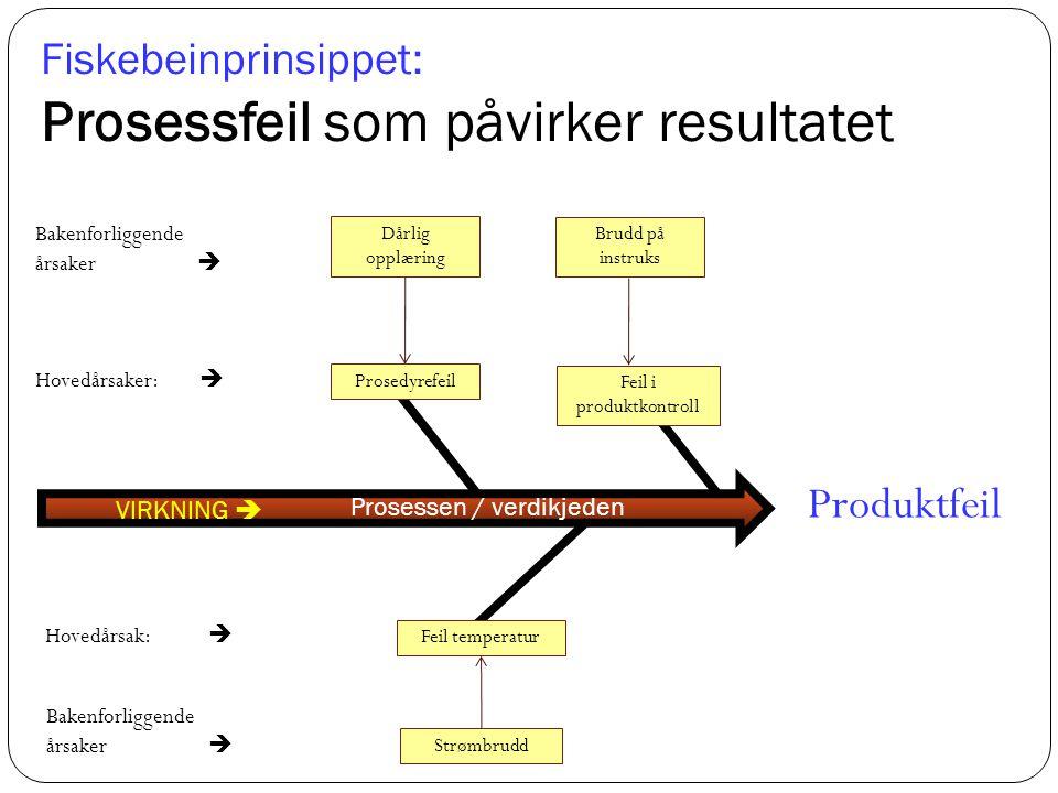 Fiskebeinprinsippet: Prosessfeil som påvirker resultatet Prosessen / verdikjeden Produktfeil VIRKNING  Prosedyrefeil Hovedårsaker:  Bakenforliggende