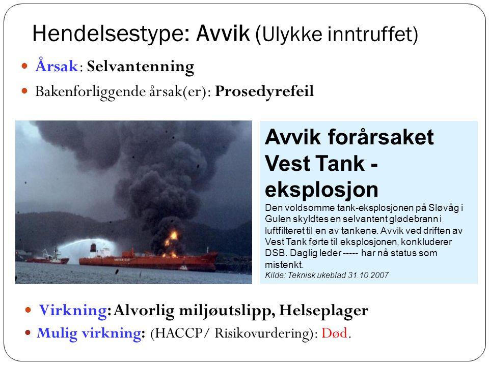 Hendelsestype: Avvik ( Ulykke inntruffet)  Virkning: Alvorlig miljøutslipp, Helseplager  Mulig virkning: (HACCP/ Risikovurdering): Død.  Årsak: Sel