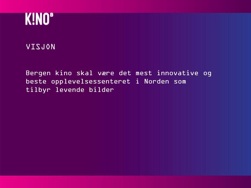 VISJON Bergen kino skal være det mest innovative og beste opplevelsessenteret i Norden som tilbyr levende bilder