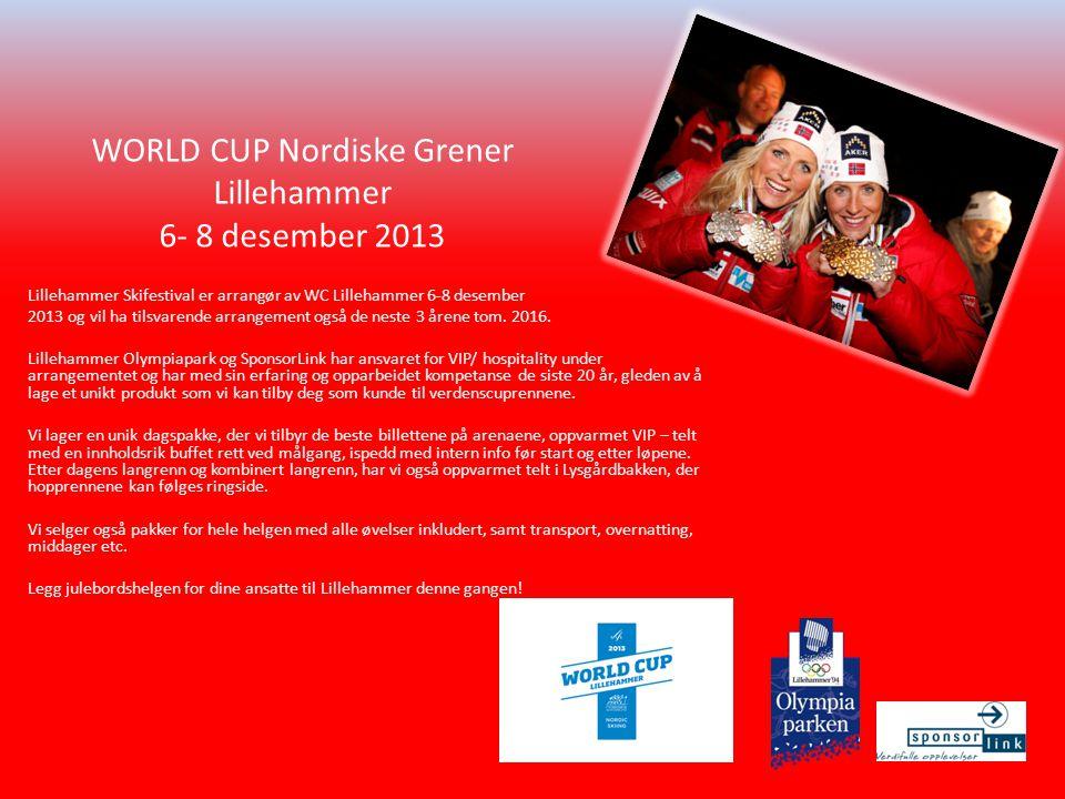 Lillehammer Skifestival er arrangør av WC Lillehammer 6-8 desember 2013 og vil ha tilsvarende arrangement også de neste 3 årene tom.