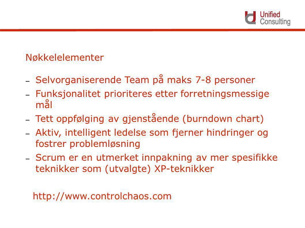 Nøkkelelementer – Selvorganiserende Team på maks 7-8 personer – Funksjonalitet prioriteres etter forretningsmessige mål – Tett oppfølging av gjenstående (burndown chart) – Aktiv, intelligent ledelse som fjerner hindringer og fostrer problemløsning – Scrum er en utmerket innpakning av mer spesifikke teknikker som (utvalgte) XP-teknikker http://www.controlchaos.com