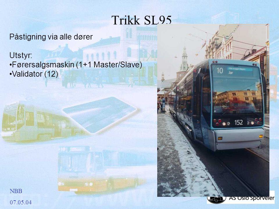 NBB 07.05.04 Trikk SL95 Påstigning via alle dører Utstyr: •Førersalgsmaskin (1+1 Master/Slave) •Validator (12)