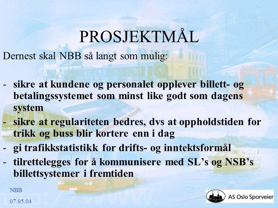 NBB 07.05.04 PROSJEKTMÅL Dernest skal NBB så langt som mulig: -sikre at kundene og personalet opplever billett- og betalingssystemet som minst like godt som dagens system -sikre at regulariteten bedres, dvs at oppholdstiden for trikk og buss blir kortere enn i dag -gi trafikkstatistikk for drifts- og inntektsformål -tilrettelegges for å kommunisere med SL's og NSB's billettsystemer i fremtiden