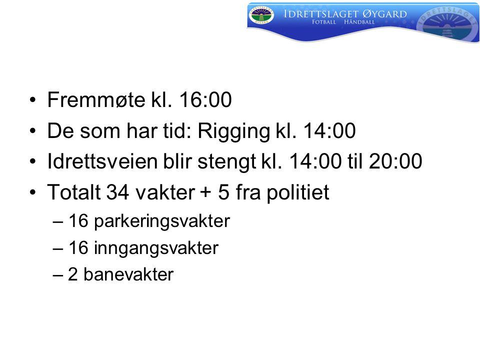 •Fremmøte kl. 16:00 •De som har tid: Rigging kl. 14:00 •Idrettsveien blir stengt kl.