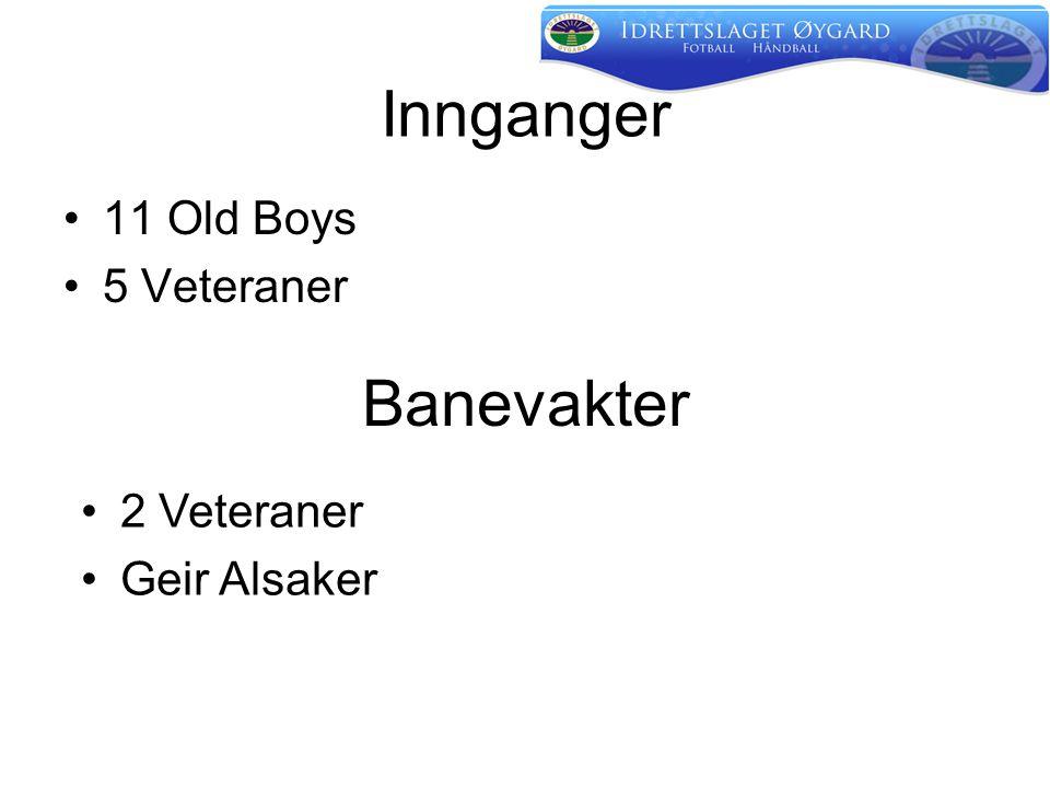 Innganger •11 Old Boys •5 Veteraner Banevakter •2 Veteraner •Geir Alsaker