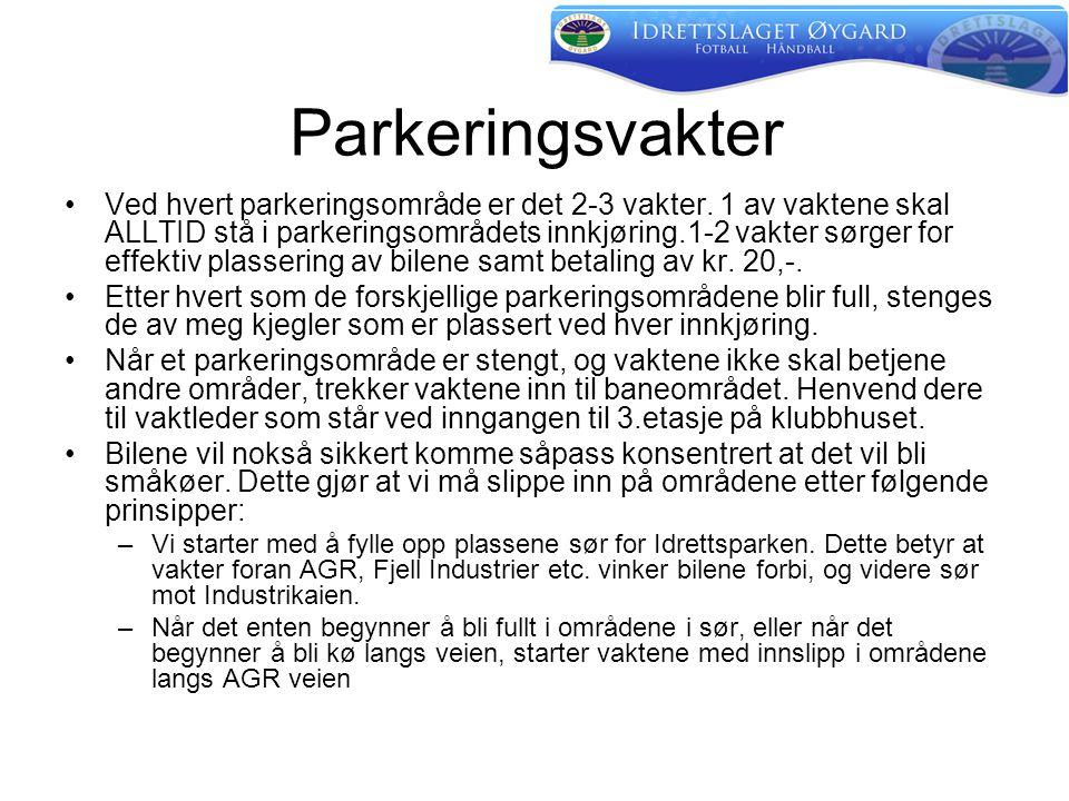 Parkeringsvakter •Ved hvert parkeringsområde er det 2-3 vakter.