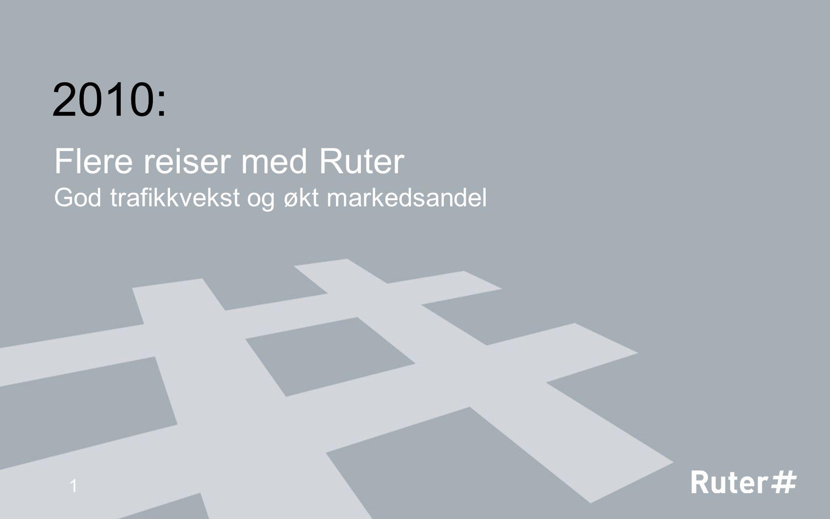 Flere reiser med Ruter God trafikkvekst og økt markedsandel 1 2010: