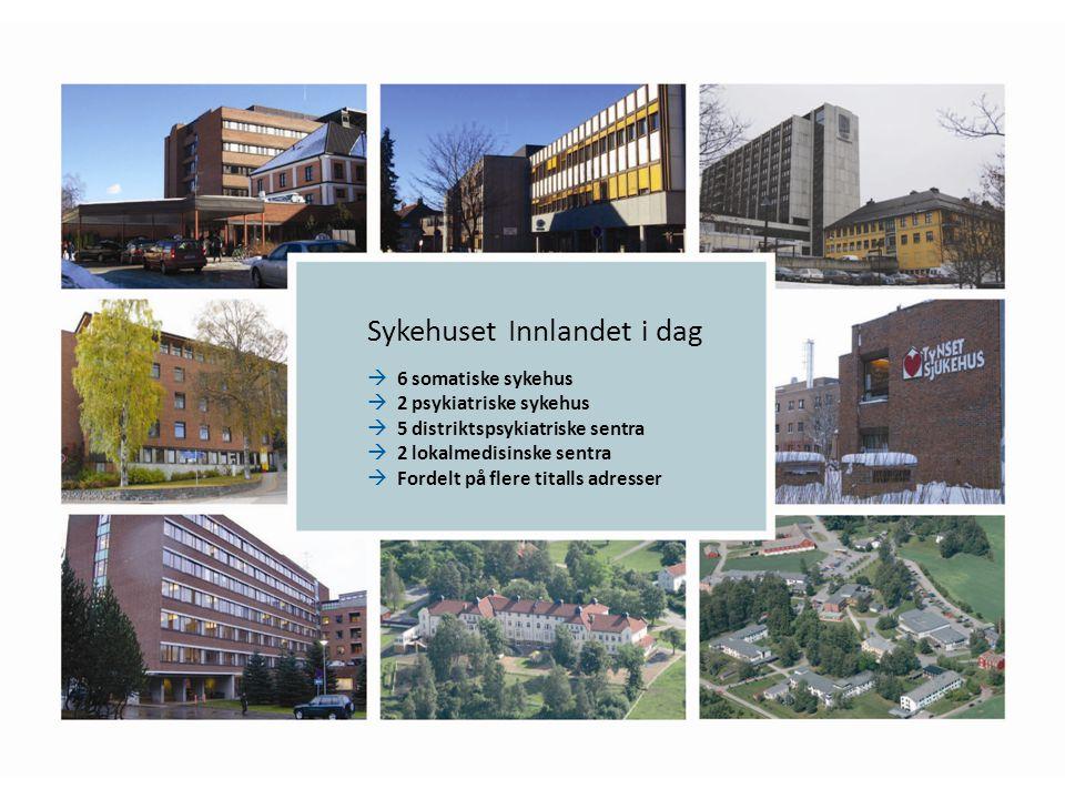 Sykehuset Innlandet i dag  6 somatiske sykehus  2 psykiatriske sykehus  5 distriktspsykiatriske sentra  2 lokalmedisinske sentra  Fordelt på flere titalls adresser