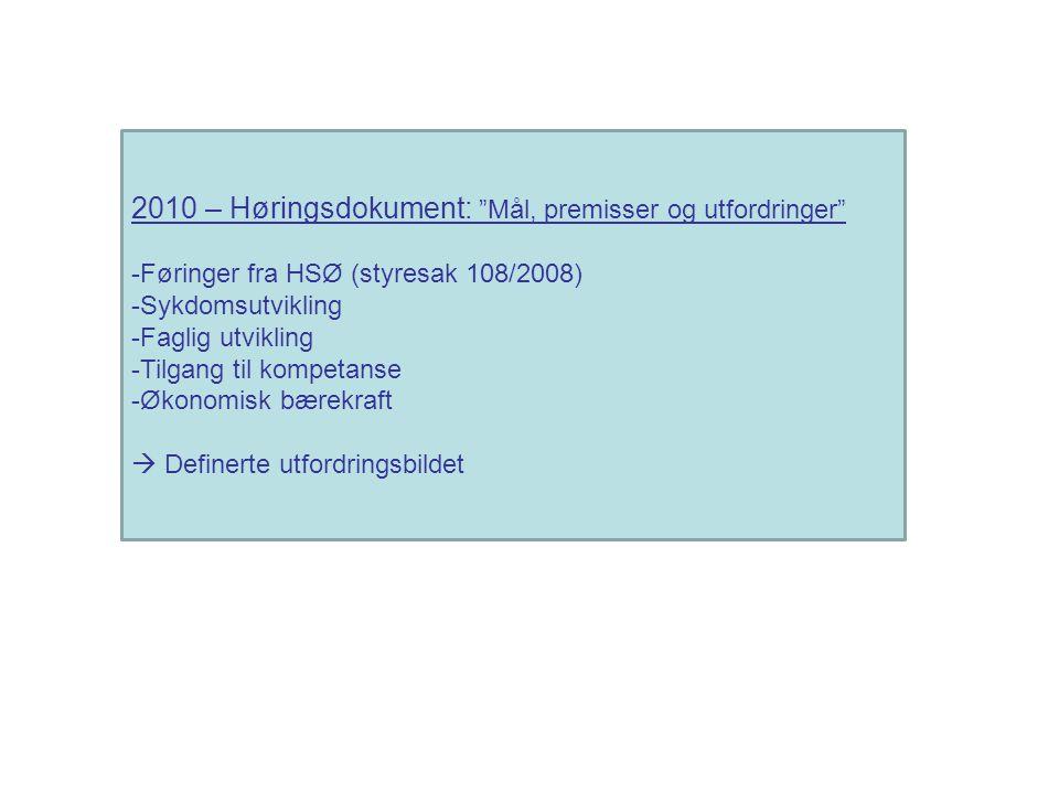 2010 – Høringsdokument: Mål, premisser og utfordringer -Føringer fra HSØ (styresak 108/2008) -Sykdomsutvikling -Faglig utvikling -Tilgang til kompetanse -Økonomisk bærekraft  Definerte utfordringsbildet