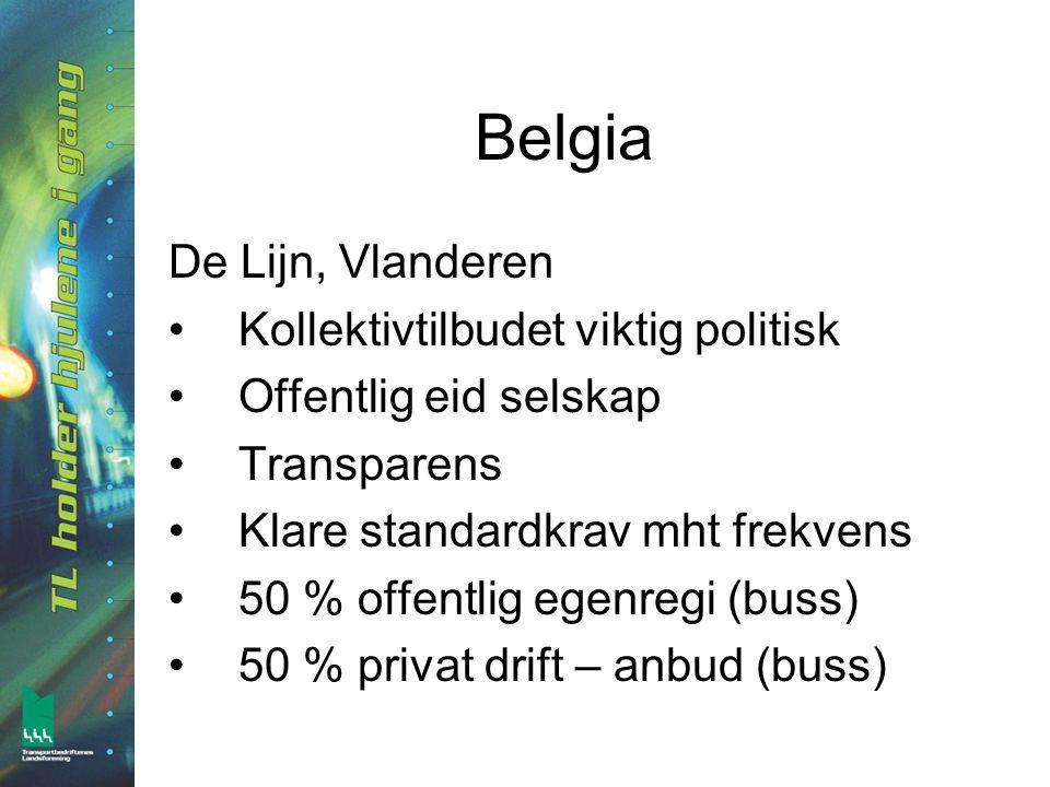 Belgia De Lijn, Vlanderen •Kollektivtilbudet viktig politisk •Offentlig eid selskap •Transparens •Klare standardkrav mht frekvens •50 % offentlig egenregi (buss) •50 % privat drift – anbud (buss)