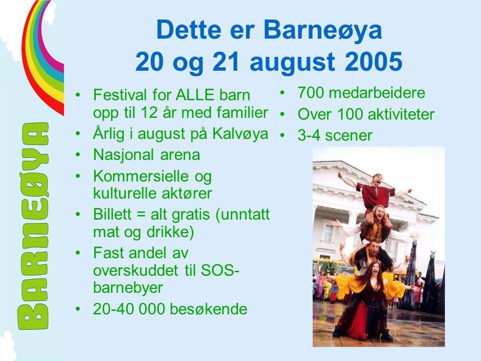 Dette er Barneøya 20 og 21 august 2005 •Festival for ALLE barn opp til 12 år med familier •Årlig i august på Kalvøya •Nasjonal arena •Kommersielle og kulturelle aktører •Billett = alt gratis (unntatt mat og drikke) •Fast andel av overskuddet til SOS- barnebyer •20-40 000 besøkende •700 medarbeidere •Over 100 aktiviteter •3-4 scener