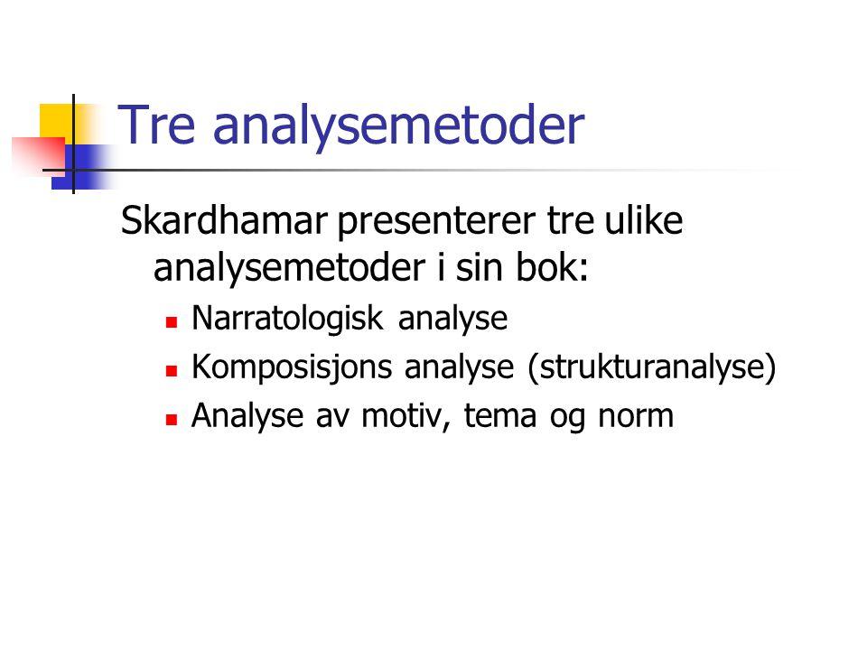 Tre analysemetoder Skardhamar presenterer tre ulike analysemetoder i sin bok:  Narratologisk analyse  Komposisjons analyse (strukturanalyse)  Analy