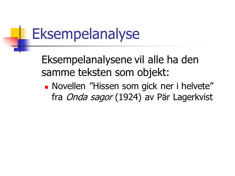 """Eksempelanalyse Eksempelanalysene vil alle ha den samme teksten som objekt:  Novellen """"Hissen som gick ner i helvete"""" fra Onda sagor (1924) av Pär La"""
