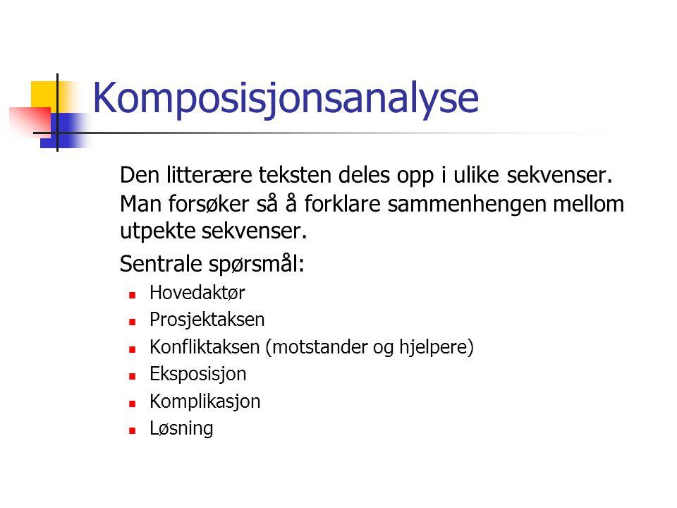 Komposisjonsanalyse Den litterære teksten deles opp i ulike sekvenser. Man forsøker så å forklare sammenhengen mellom utpekte sekvenser. Sentrale spør