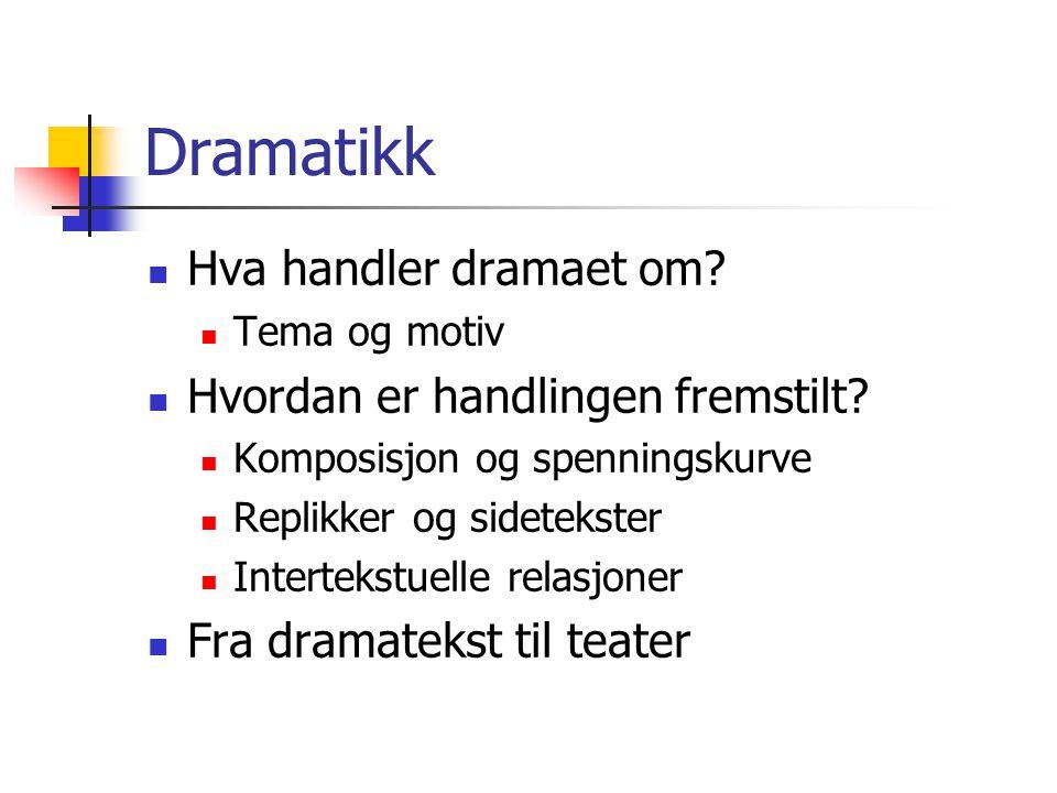 Dramatikk  Hva handler dramaet om?  Tema og motiv  Hvordan er handlingen fremstilt?  Komposisjon og spenningskurve  Replikker og sidetekster  In