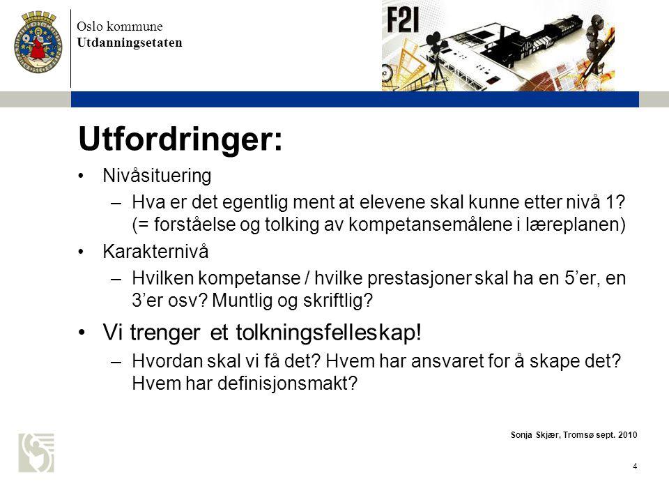 Oslo kommune Utdanningsetaten 4 Utfordringer: •Nivåsituering –Hva er det egentlig ment at elevene skal kunne etter nivå 1.