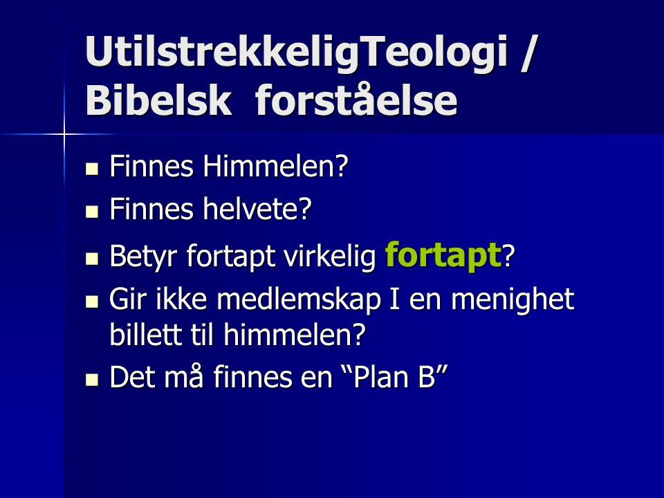 UtilstrekkeligTeologi / Bibelsk forståelse  Finnes Himmelen?  Finnes helvete?  Betyr fortapt virkelig fortapt ?  Gir ikke medlemskap I en menighet