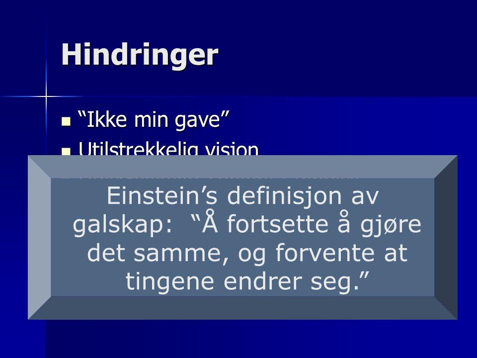 Hindringer  Ikke min gave  Utilstrekkelig visjon  Utilstrekkelig Teologi / Bibelsk forståelse  Uhensiktsmessige tradisjoner Einstein's definisjon av galskap: Å fortsette å gjøre det samme, og forvente at tingene endrer seg.