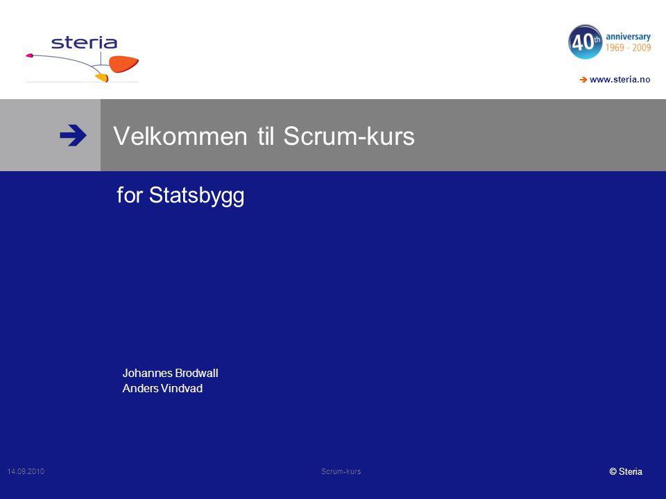   www.steria.no © Steria Velkommen til Scrum-kurs for Statsbygg 14.09.2010 Scrum-kurs Johannes Brodwall Anders Vindvad