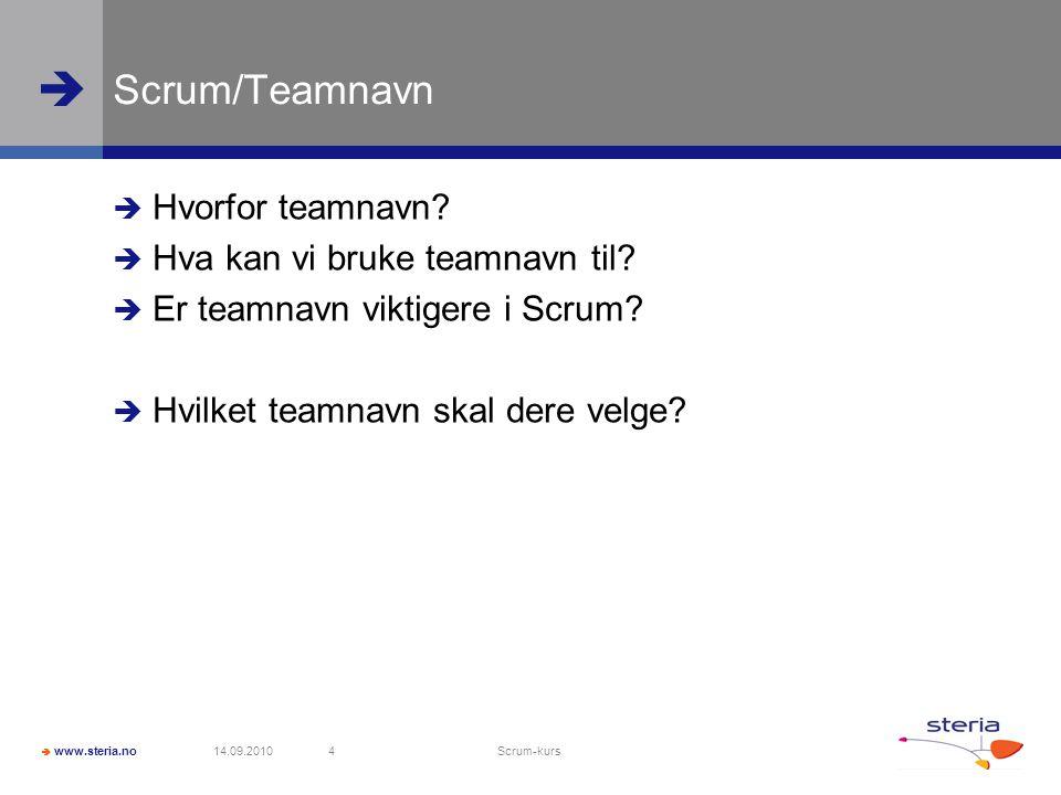  www.steria.no  Scrum/Teamnavn  Hvorfor teamnavn.