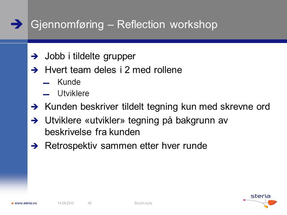  www.steria.no  Gjennomføring – Reflection workshop  Jobb i tildelte grupper  Hvert team deles i 2 med rollene ▬ Kunde ▬ Utviklere  Kunden beskriver tildelt tegning kun med skrevne ord  Utviklere «utvikler» tegning på bakgrunn av beskrivelse fra kunden  Retrospektiv sammen etter hver runde 14.09.2010 Scrum-kurs 40