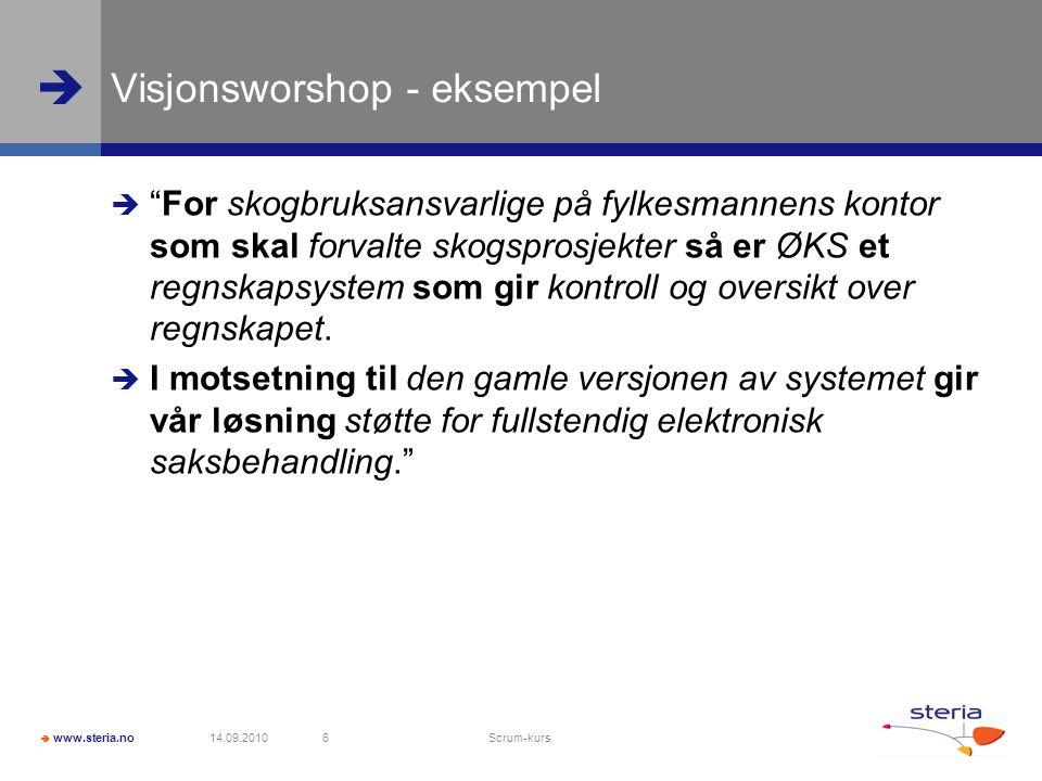  www.steria.no  Visjonsworshop - eksempel  For skogbruksansvarlige på fylkesmannens kontor som skal forvalte skogsprosjekter så er ØKS et regnskapsystem som gir kontroll og oversikt over regnskapet.