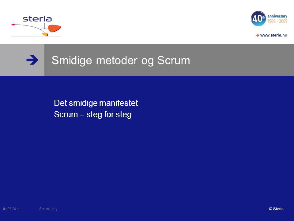  www.steria.no  Visjonsworkshop  For innføringsprosjektet  Som skal gjennomføre prosjektet på en effektiv og smidig måte  Så er Scrum-intro et verktøy  Som skaper en felles plattform.